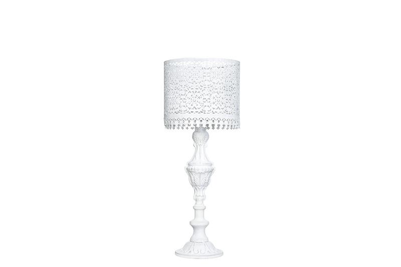 Lampa/värmeljus i vit metall