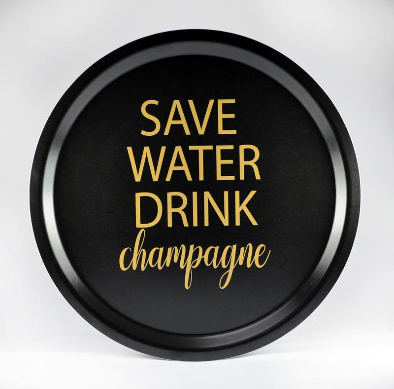 Bricka rund Save water ....